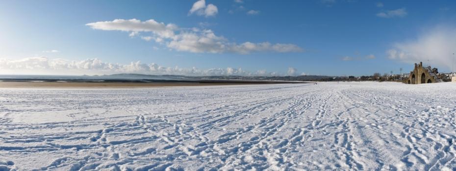 Swansea beach under snow